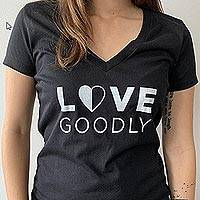 LOVE GOODLY Logo V-Neck Tee in Black - LOVE GOODLY All Cotton Logo V-Neck Tee in Black