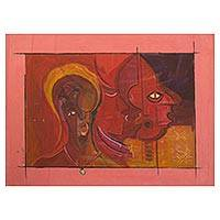 'Native Mind' - Original African Cubist Painting from Ghana