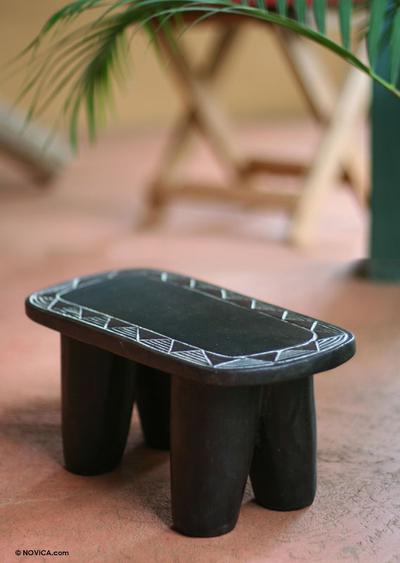 Wood throne stool, 'African Sun' - Wood Throne Stool