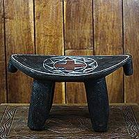 Ashanti throne stool, 'Sunflower' - Fair Trade Ashanti Throne Stool