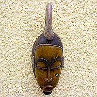 Ivoirian wood mask, 'Guro Wise Man'