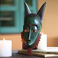 Ivoirian wood mask, 'Gentle Guro Antelope' - Ivoirian wood mask