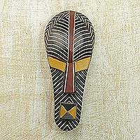 Akan wood mask, 'Leader Wears Russet' - Akan wood mask