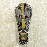 Akan wood mask, 'Leader Wears Green' - Tribal Wood Mask