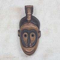 Wood mask, 'Victory through Peace' - Handmade Wood Wall Mask