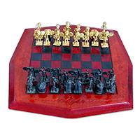 Leather and brass chess set, 'Tribal Warfare' - Chess Set with Unique Pieces