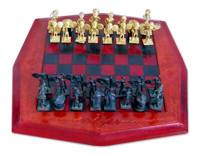 Leather and brass chess set, 'Tribal Warfare' - Leather and Brass Chess Set