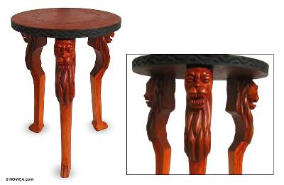 Wood accent table, 'Lion Power' - Handcrafted Sese Wood Accent Table