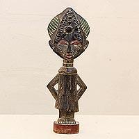Wood sculpture, 'Sweetheart' - Handcrafted Wood Figurine