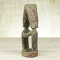 Wood statuette, 'Reconciliation' - Cultural Wood Sculpture