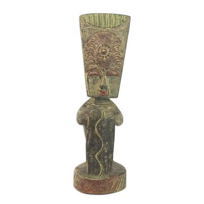 Wood statuette, 'Reconciliation' - Cultural Wood Sculpture
