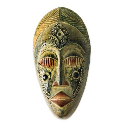 Akan wood mask, 'Royal Presence' - Hand Crafted Wood Mask