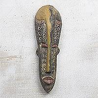 Akan wood mask, 'Beauty Queen' - Hand Carved Wood Mask