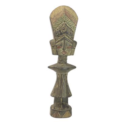 Wood sculpture, 'Teacher's Wife' - Hand Made Wood Cultural Sculpture