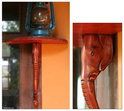 Wood wall shelf, 'Elephant's Grace' - Hand Carved Wood Wall Shelf