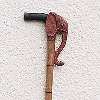 Wood walking stick, 'African Elephant' - Wood walking stick