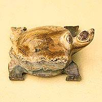 Onyx sculpture, 'Turtle Luck Russet' - Onyx sculpture