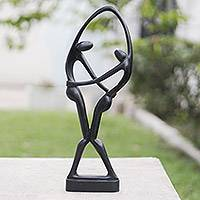 Mahogany sculpture, 'Dancers in Black'