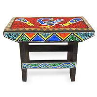 Beaded throne stool, 'Wisdom of Ghana' - Hand Beaded Throne Stool
