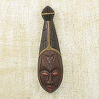 Akan wood mask, 'Good Marriage' - Fair Trade Wood Wall Mask