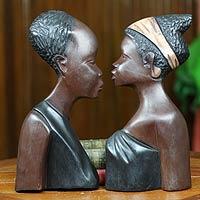 Wood wall adornments, 'Loving Couple' (pair)