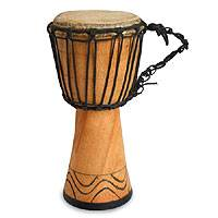Wood djembe drum, 'Give Thanks' - Fair Trade African Wood Djembe Drum