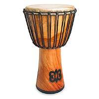 Wood djembe drum, 'Adinkra Symbols' - Wood djembe drum