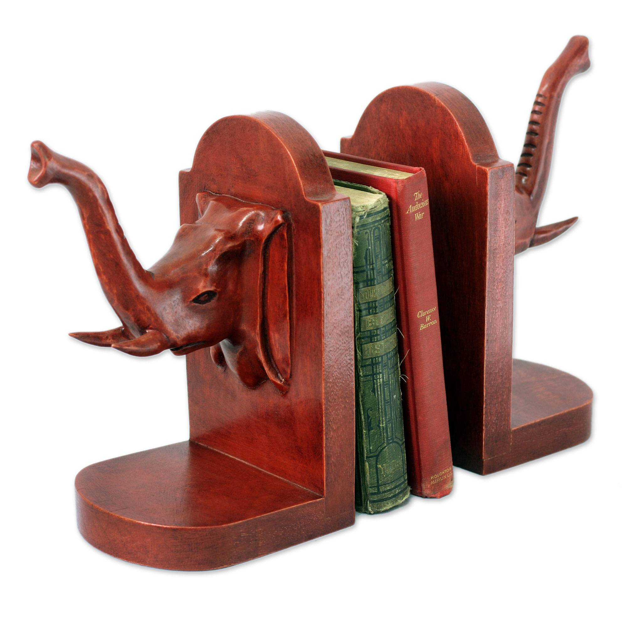 Hand Carved Cedar Wood Bookends (Pair), 'Elephant Guardian'