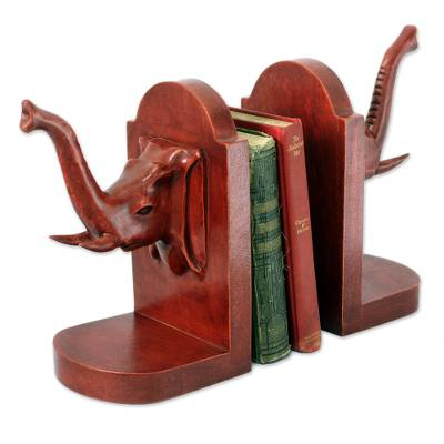 Cedar bookends, 'Elephant Guardian' (pair) - Hand Carved Cedar Wood Bookends (Pair)