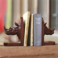 Cedar bookends, 'Rhino Guardian' (pair)