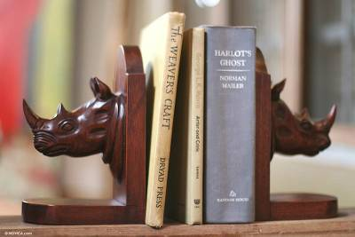 Cedar bookends, 'Rhino Guardian' (pair) - Hand Carved Wood Bookends (Pair)