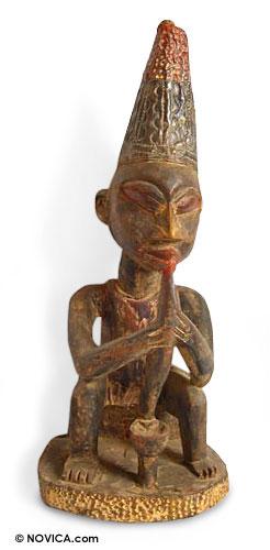Wood sculpture, 'Native Doctor' - Wood sculpture