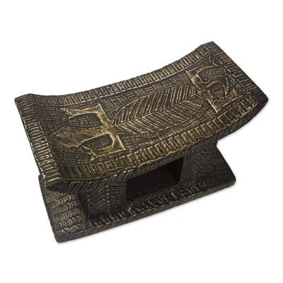 Wood throne stool, 'Young Woman' - Wood Throne Stool