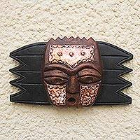 Ghanaian wood mask, 'Protective Star' - African wood mask