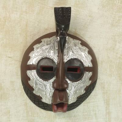 Ghanaian wood mask, 'Bird of Peace' - Handcarved African Wood Mask