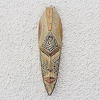Akan wood mask, 'Well Done' - Fair Trade African Wood Mask