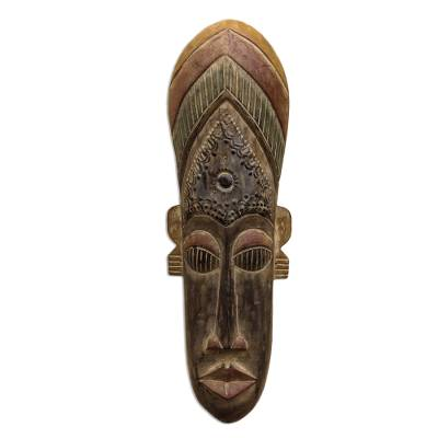 Akan wood mask, 'Moral Support' - Hand Carved African Wood Mask