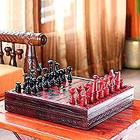 Wood and leather chess set, 'African Challenge' - Handcrafted African Wood and Leather Chess Set