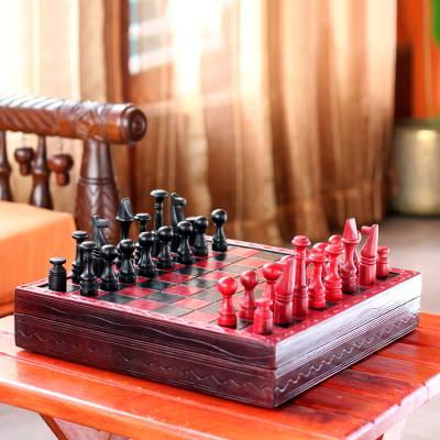 Wood And Leather Chess Set African Challenge Handcrafted