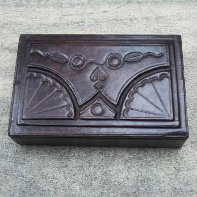 Wood and leather jewelry box, 'African Fan' - Leather Jewelry Box