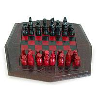 Wood and leather chess set, 'African Battle'