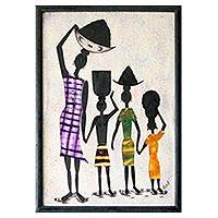'Working Together' - Folk Art Painting from Africa