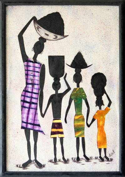 Cotton batik wall art, 'Working Together' - Folk Art Painting from Africa