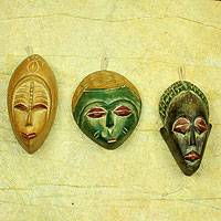 Wood ornaments, 'Priests' (set of 3)