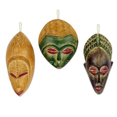 Wood ornaments, 'Priests' (set of 3) - Handcrafted Wood Christmas Ornaments (Set of 3)