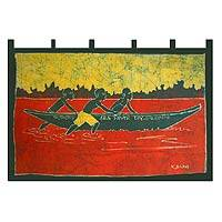 Batik wall hanging, 'Heading For Shore' - Batik wall hanging
