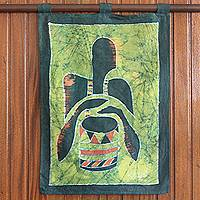 Batik wall hanging, 'African Drum' - Batik wall hanging