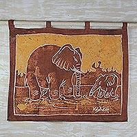 Batik wall hanging, 'Elephant Child' - Unique African Batik Cotton Wall Hanging