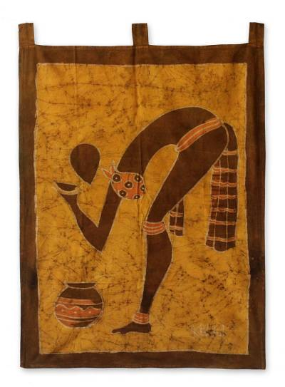 Batik wall hanging, 'Long Cool Drink' - Hand Crafted Batik Cotton Wall Hanging