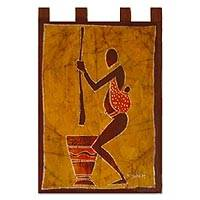 Batik wall hanging, 'We Shall Eat' - Batik wall hanging
